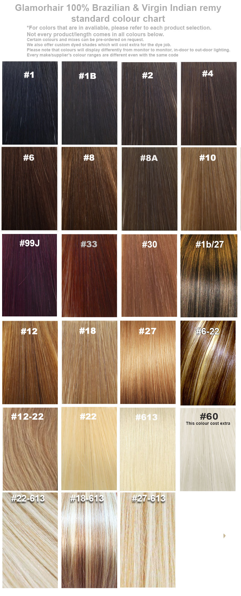 Glamorhair color chart geenschuldenfo Choice Image
