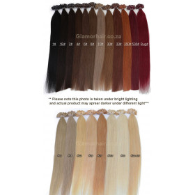 """50pc  55cm (22"""") I Tip red Ombre Indian Remy"""